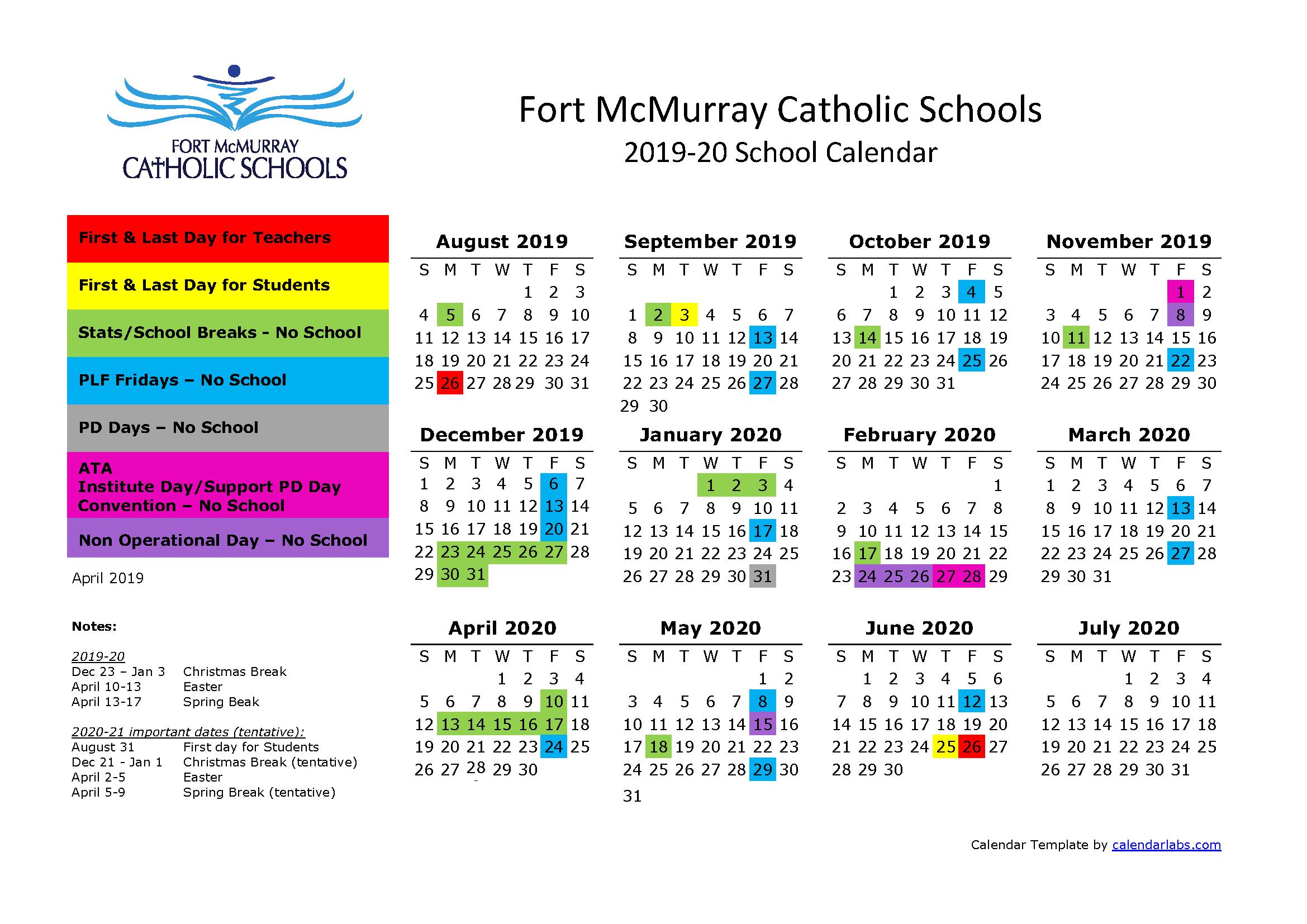 2020 2020 Calendar.School Calendar 2019 2020 Father Mercredi School